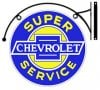 Double Sided Chevy Super Service Sign