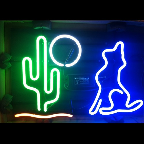 Cactus Moon Wolf Neon Sign - FREE SHIPPING