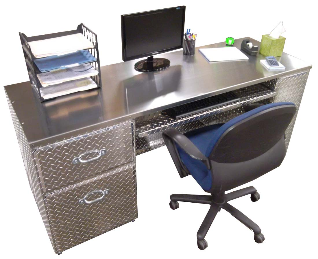 Man Cave Office Desk : Pit products diamond plated office desk