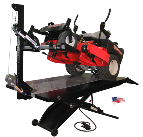 new handy deck hand lawn mower zero turn lift table attachment