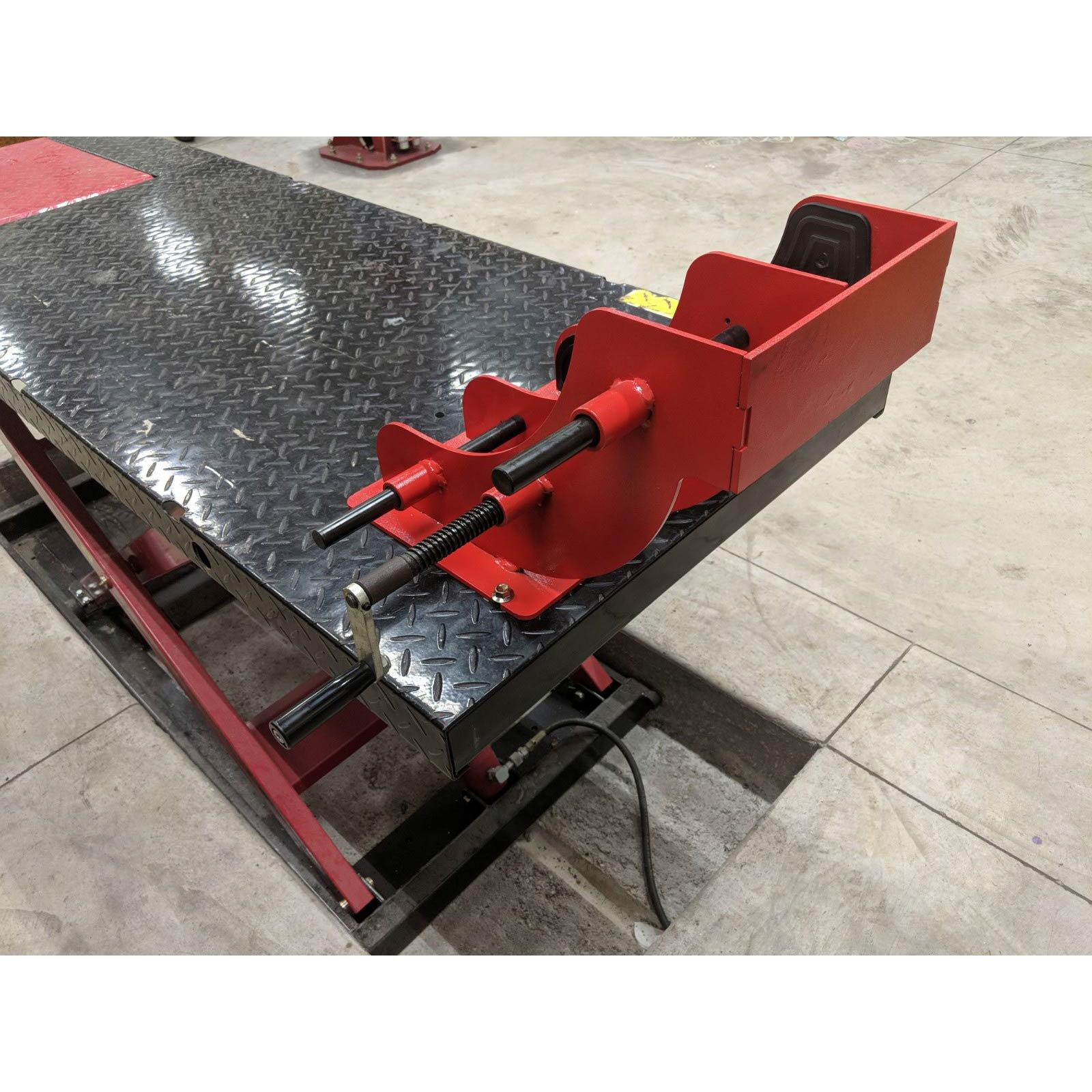 redline motorcycle lift table commercial grade wheel vise