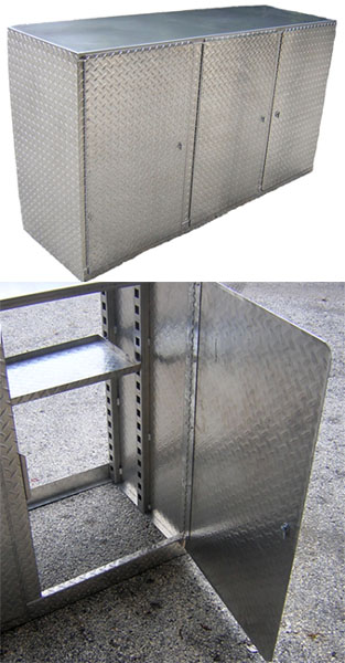 Pit Posse 72'' Diamond Plate Floor Base Cabinet